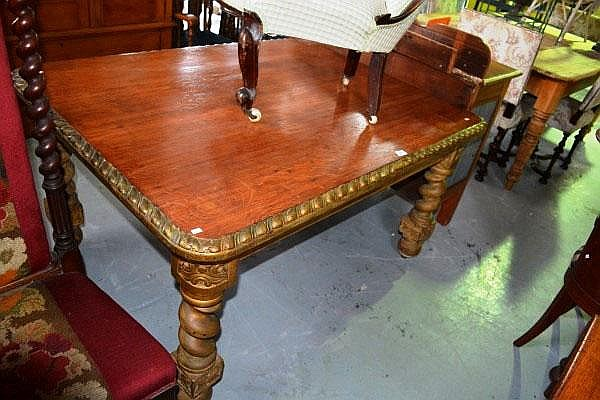 Vintage solid oak dining table, stripped natural