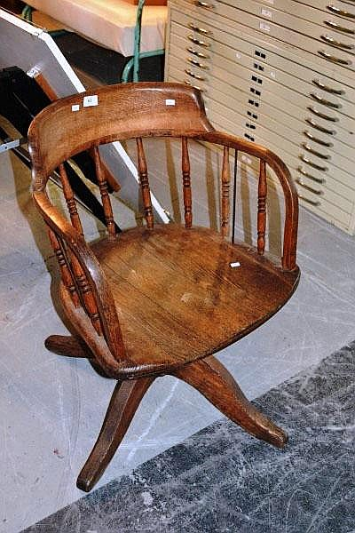 Vintage oak captain's style desk chair, spindle