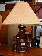 Vintage lustre pottery table lamp base with cream