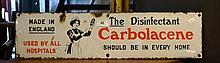 Vintage original enamel sign for Carbolacene'