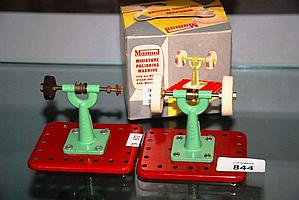 Vintage Mamod miniature polishing machine on stand