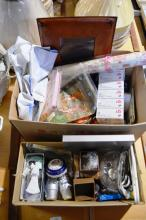 2 boxes: creams, aromatherapy items, material, frame, perfumes, Limoges, Xmas decorations etc