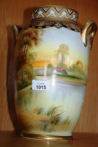 Large Noritake hand painted & gilded mantel vase