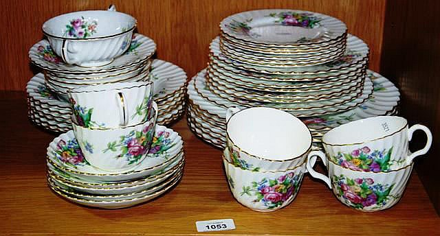 Minton part tea & dinner service, floral design,