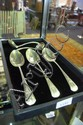 A collection of 3 sterling silver gravy spoons & 2