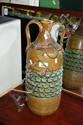 C. 1970 Italian pottery vase in an olive & aqua