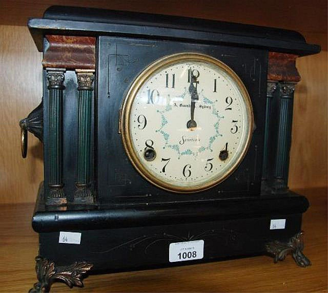 Antique Sessions mantel clock, in ebonised case