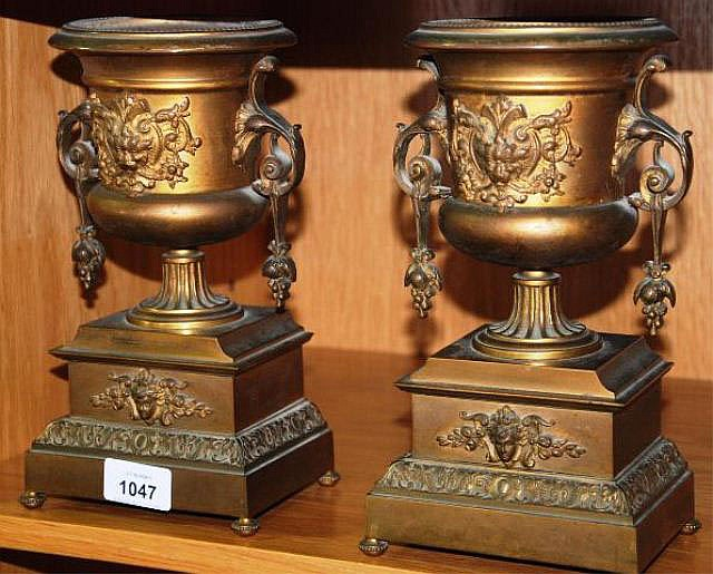 Pair of antique French gilt bronze urns, double