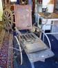 Antique timber framed wheelchair, spoke wheels