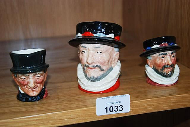 3 Royal Doulton character jugs, a 'Beefeater'