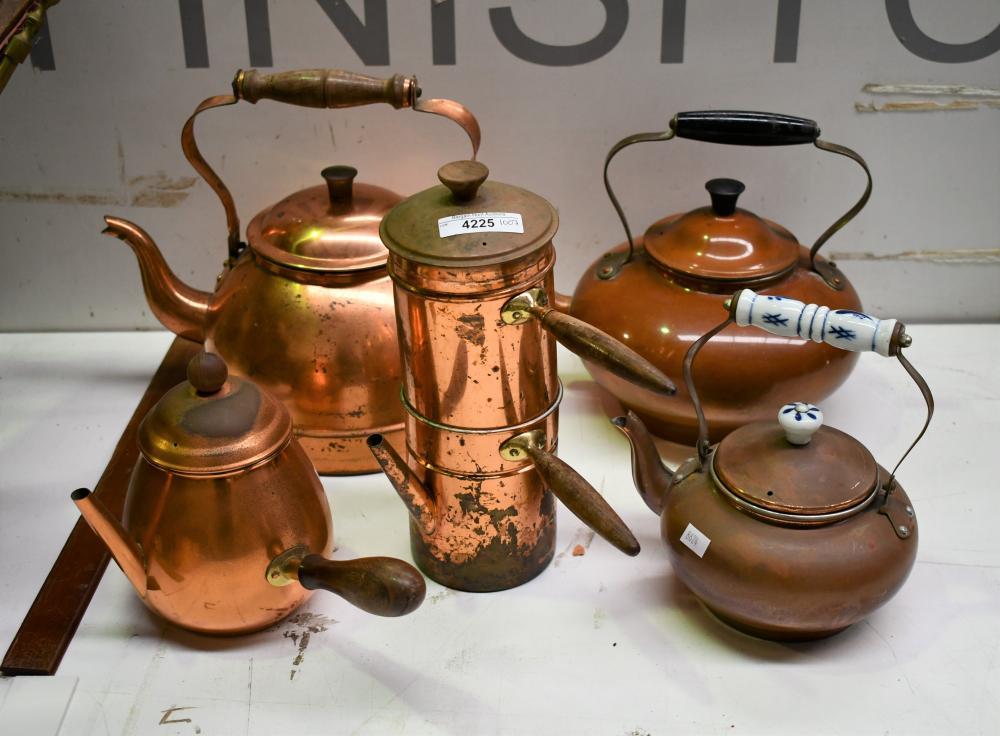 Five copper items incl