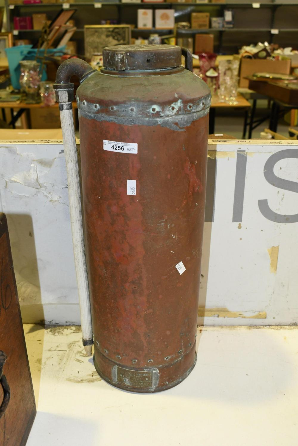 Vintage copper fire extinguisher by Simplex, 51cm H