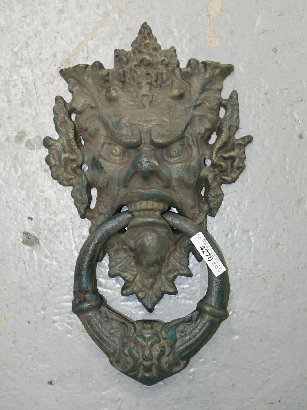Cast iron door handle, 37cm H