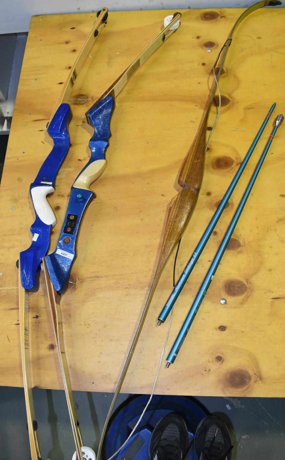 Collection of three archer's bows incl