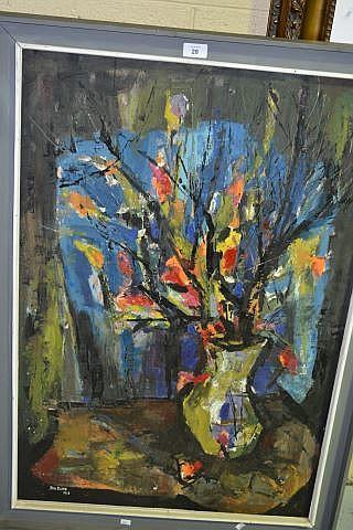 Joe Rose, oil on board still life vase with