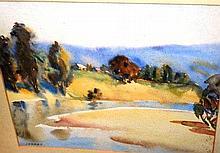 Dora Jarret, watercolour, house on a river bend,