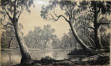 G. Cope, etching, 'A tranquil river', pencil