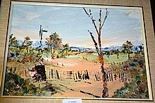 Artist unknown, oil on canvas board, outback rural