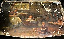 Artist unknown, oil on canvas, Victorian interior