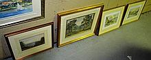 Collection 4 watercolours, old English landscapes,