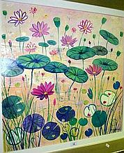 Colleen Parker, oil on board, 'Lily pads', signed,