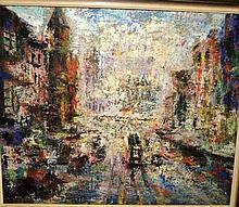 Hans Selke, oil on board, Sydney street scene,