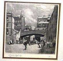 Lionel Lindsay, etching, 'Argyle Cut' pencil