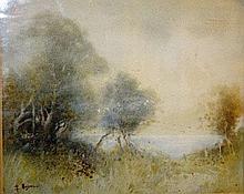 George Ansdell, watercolour, lake view through