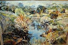 Angela van Wyk, oil on board, Australian creek