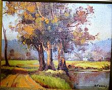 D.Forbes, oil on canvas board, 'The road to the