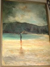 Peter Fenell, figure on beach, oil on board, signed & dated 1984, 50 x 35cm