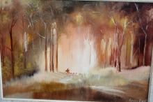 Kevin Best, 'Forest Muster', oil on board, signed & dated 1976, also signed & dated verso, 21 x 32cm