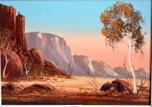 Henk Guth, 'Central Australian Desert Scene', oil on board, signed, 24 x 34cm