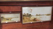 Jan de Leener, 2 works - river landscape scenes, watercolours, each signed, one is 27 x 56cm the other 12 x 27cm