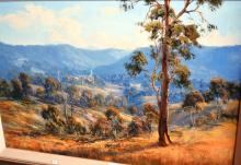 Pat Murphy, 'Grazing in the Tumut Hills', oil on board, signed, 60 x 90cm