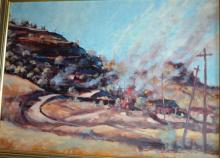 Rex Backhaus-Smith, hillside country town, oil on board, signed lower right, 49 x 69cm