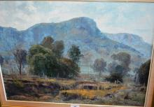 Robert Simpson, 'Grey Day, Capertee Valley', oil on board, signed, 45 x 60cm