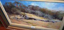 Robert Simpson, 'A Log in the Dunes', oil on board signed & dated 1984, 30 x 50cm