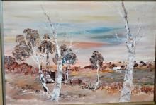 Neil Savage, 'Parched Country', oil on board, signed & dated 1982, 34 x 49cm