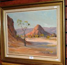 Carl Van Nieuwmans, central Australian desert scene, oil on board, signed, 36 x 46cm