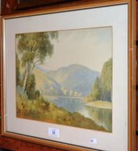 George Ansdell, river valley landscape, watercolour, signed 24 x 34cm