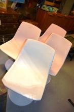 Set of 4 Sebel 'Hobnob' chairs, moulded white plastic on swivel metal tulip base
