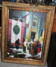 Large oil painting of a carpet bazaar, on canvas, unsigned, image 105 x 75cm, mounted in an ornate gilt timber frame
