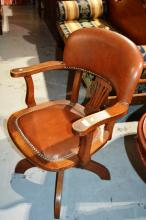Antique oak desk chair, swivel type and height adjustable, brown leather upholstered in good order