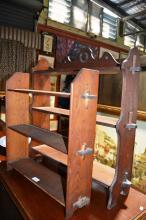 2 x 3 tier open wall shelves, both peg construction, 1 x oak 56 x 56cm - missing 1 x peg and 1 x blackwood 71 x 70cm