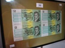 Framed set of 4 Australian paper $2 banknotes, consecutive numbers, Johnston/Fraser, appear uncirculated