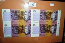 Set of 4 Australian paper $5 banknotes, uncut, Fraser/Higgins