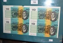 Set of 4 Australian paper $10 banknotes, uncut, Fraser/Cole