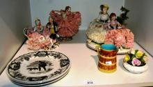 3 Villeroy & Boch display plates - Lachasse series Coalport posy ornament - AF, 3 European porcelain lace wear figural groups