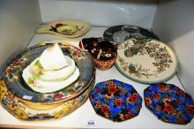 Bell china trio - 'Meadow Side' pattern, various side & display plates to incl. 'Copeland', pottery souvenir ware ashtray
